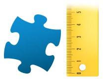Proporción del tamaño de la pieza, Puzzle personalizado de 100 piezas